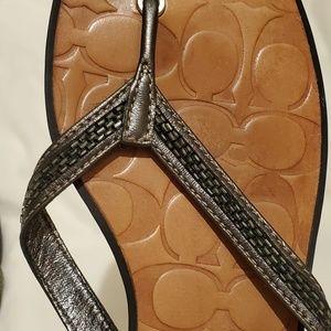 Coach silver thong sandals